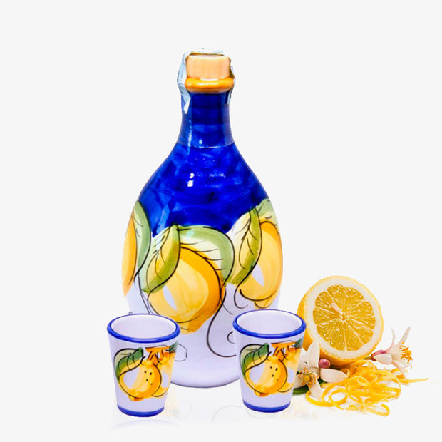 Dolceterra Limoncello of Sorrento Jar and two Handmade glasses 16.9 fl.oz