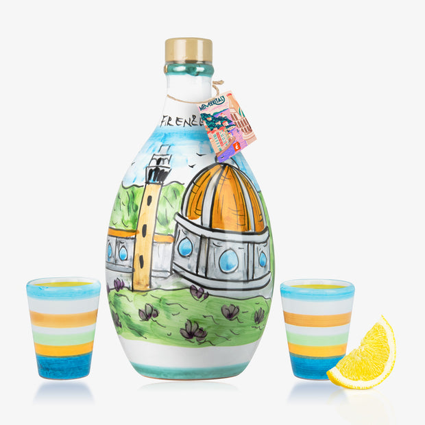 'FIRENZE MEMORITALY' - Handmade Jar Lemoncello and two Glasses