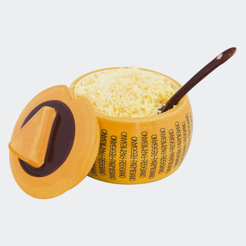 Parmigiano - Reggiano- Pottery Cheese Container with small spoon