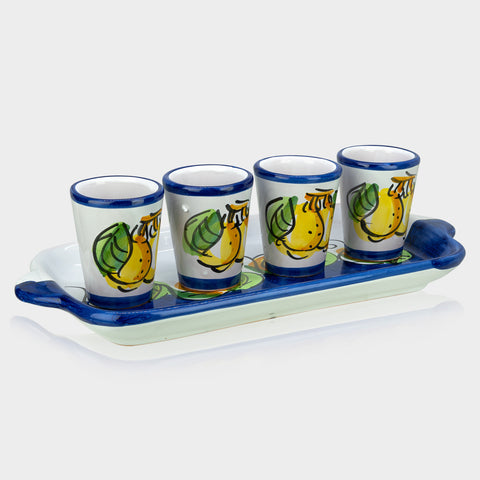 Limoncello Ceramic Glasses and Ceramic Tray, Hand-Painted Set of 4
