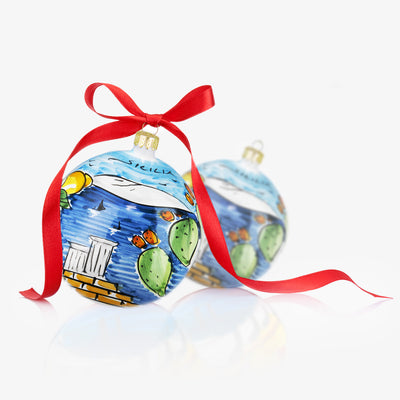 SICILIA Hand-Painted Christmas Balls Ornaments