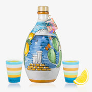'Sicilia Memoritaly' - Handmade Jar Limoncello and two Glasses