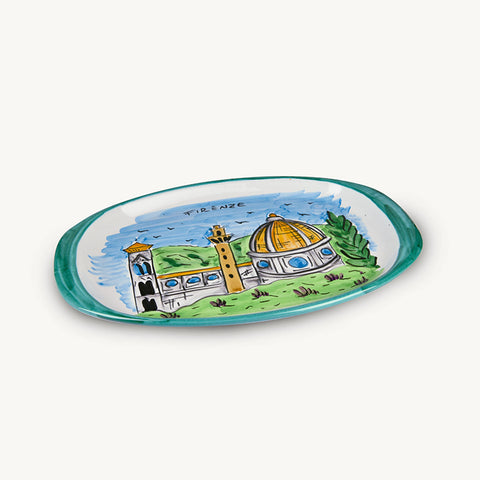 MEMORITALY HANDMADE PAINTED TRAY FIRENZE AND GLASSES CITY SET (6 PCS OF GLASS)