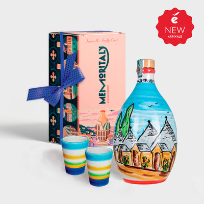'Alberobello Memoritaly' - Handmade Jar Limoncello and two Glasses