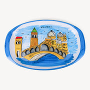 Memoritaly Handmade Painted Tray Venezia and Glasses City Set (6 pcs of glass)
