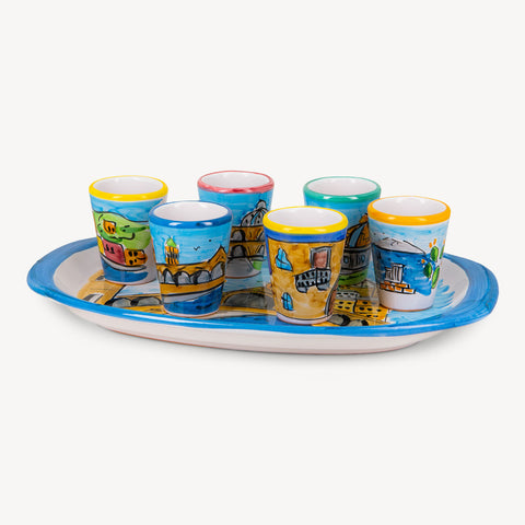 MEMORITALY HANDMADE PAINTED TRAY SICILIA AND GLASSES CITY SET (6 PCS OF GLASS)