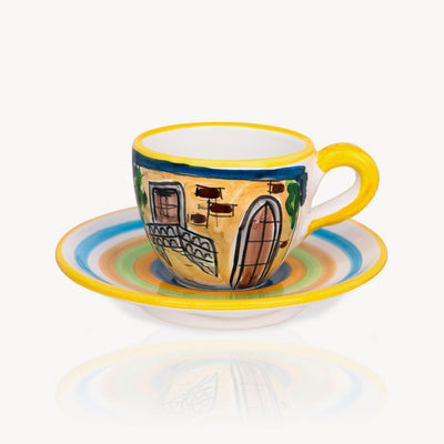 """Romeo & Juliet"" - Hand-painted Coffee Cup Memoritaly"
