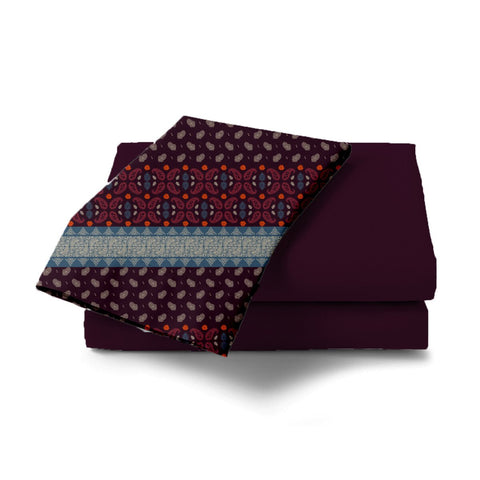 Maroon Paisley Bed Sheet - Haus and Sie