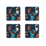 Spaceman Printed wooden coasters Set of 4