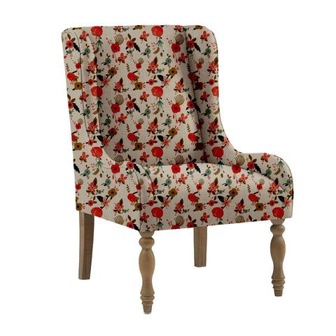 Painted Hibiscus Wing Chair - Haus and Sie