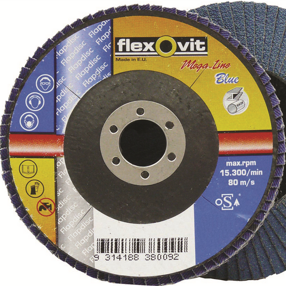 FLEXOVIT ZIRCONIA FLAP DISC 125X22MM 40GRIT