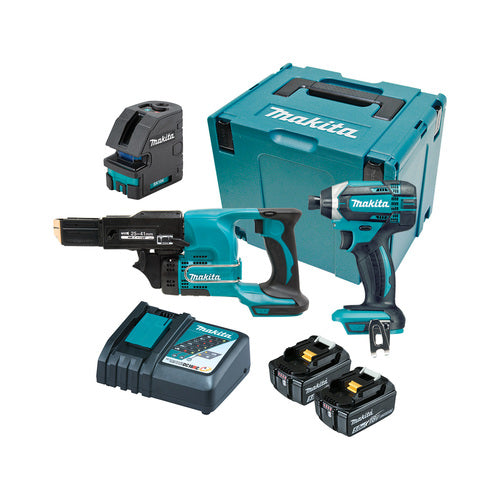 MAKITA 18V LITHIUM-ION 3PCE CORDLESS COMBO KIT