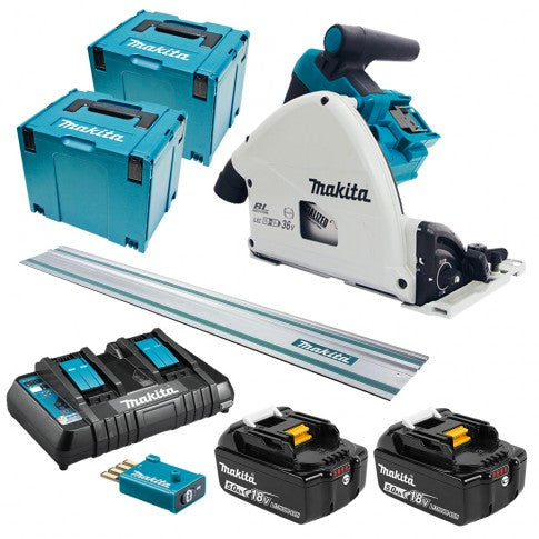 Makita 36V (18V x 2) 165mm Plunge Saw with AWS Kit