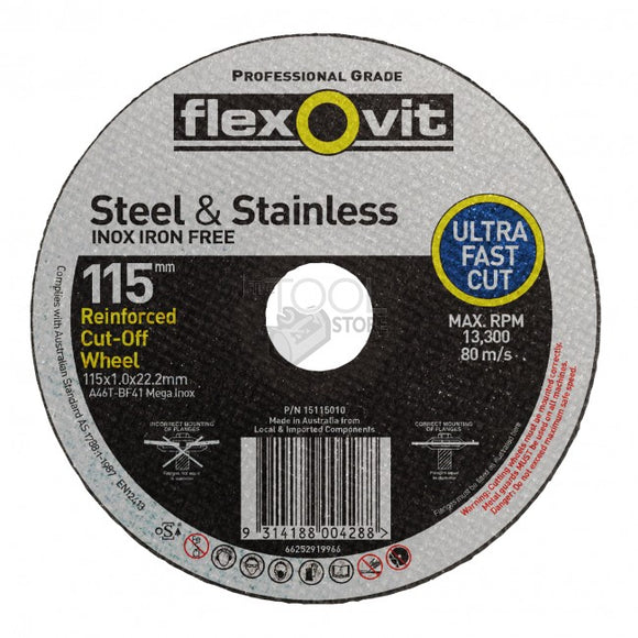 Flexovit Mega Inox Cutting Disc 115x1.0x22.2mm