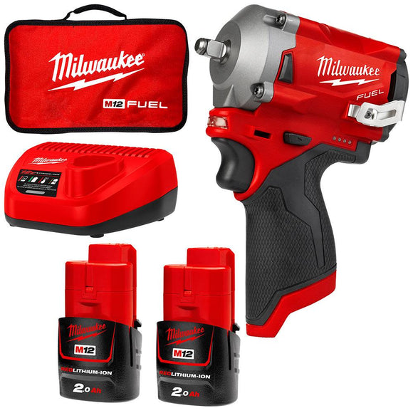 Milwaukee 12V 2.0Ah Li-ion Cordless Fuel Stubby 3/8