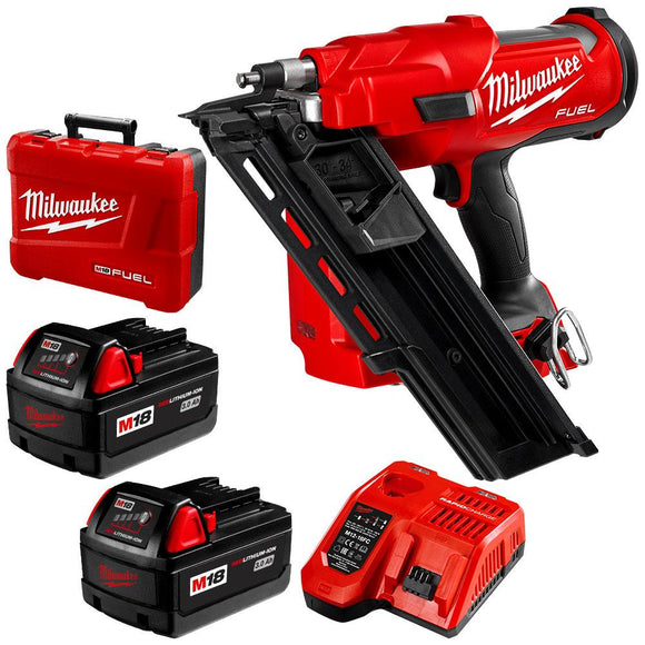 (Available Now) Milwaukee 18V Li-ion Cordless Fuel 30°- 34° Framing Nailer - Kit