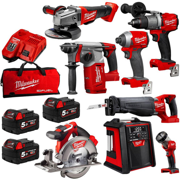 Milwaukee M18 8pce Combo Kit - 3 Battery