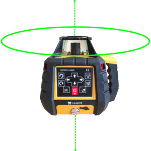 LaserX Green Beam Dual Grade Rechargeable Motorised Rotary Laser
