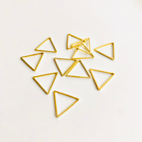 Love Triangle - 10 Gold Triangle Stitch Markers