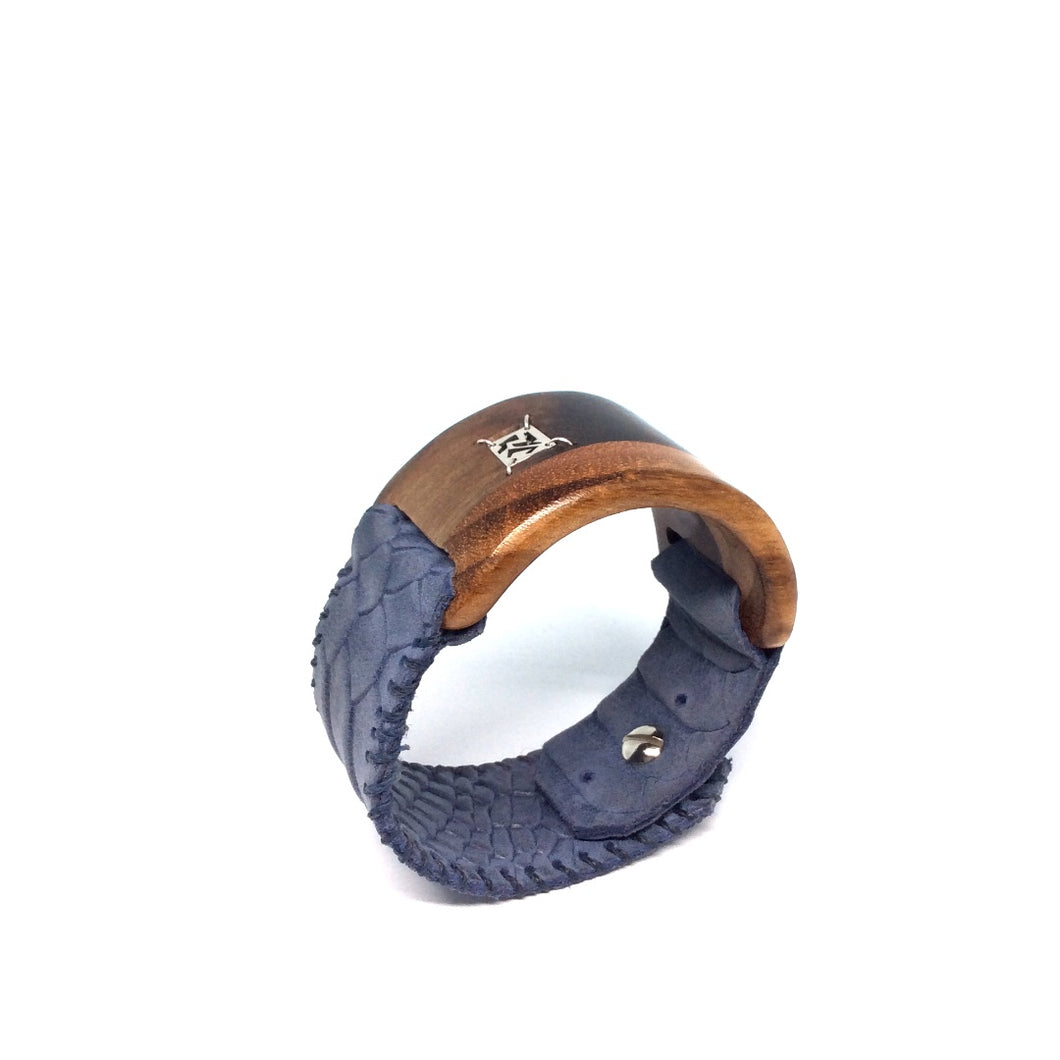 Fusion unisex bracelet. Leather and wood cuff, designed for both men and women.  Handmade sterling silver handmade