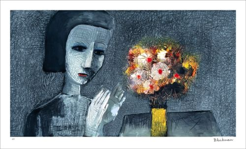"CHARLES BLACKMAN ""Girl With Flowers"" Signed, Limited Edition Print 60cm x 107cm"