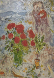 "MARC CHAGALL ""Red Bouquet and Lovers"" Limited Edition Colour Lithograph"