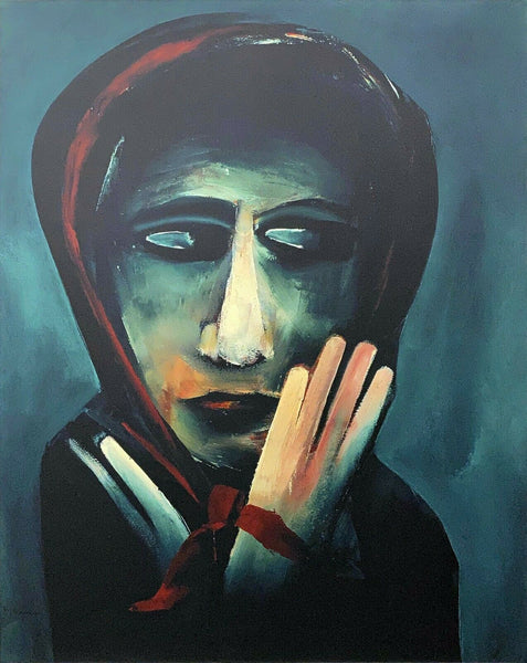 "CHARLES BLACKMAN ""The Red Scarf"" LARGE Signed Limited Edition Print 100cm x 80cm"