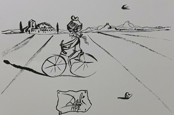 "SALVADOR DALI ""Bicycle Man"" Limited Edition Colour Lithograph"