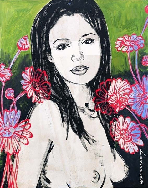 "DAVID BROMLEY Nude ""Mallory With Flowers"" Signed Limited Edition Print, 70 x 55"