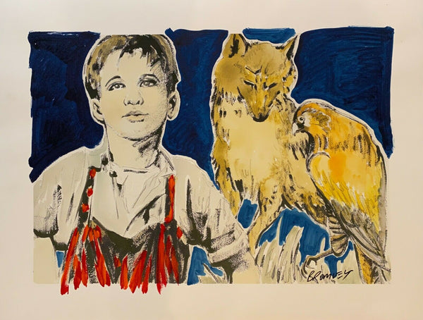 "DAVID BROMLEY Children Series ""Boy and Wolf"" Signed, Mixed Media 80cm x 105cm"