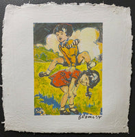 "DAVID BROMLEY ""Leapfrog"" Signed Screenprint on French Paper 46cm x 34cm"