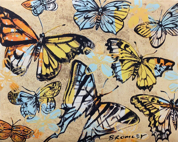 "DAVID BROMLEY ""Golden Butterflies"" Signed Limited Edition Print 72cm x 90cm"