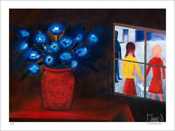 "CHARLES BLACKMAN ""Blue Bouquet and Window"" Printers Proof Print PP 28cm x 39cm"