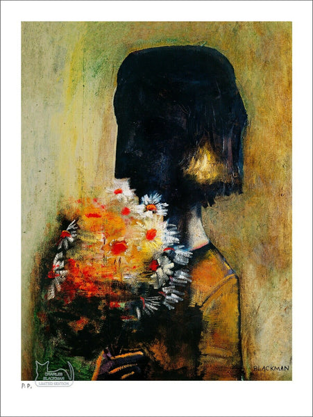 "CHARLES BLACKMAN ""Girl With Yellow Bouquet"" Printers Proof Print PP 38cm x 28cm"