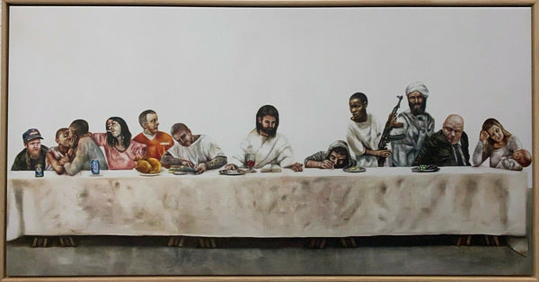 "JOHAN ANDERSSON ""Last Supper"" Signed, Mixed Media on Canvas 65cm x 126cm, FRAMED"