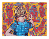 "DAVID BROMLEY ""Young Artist (Girl)"" Printers Proof Print PP 24cm x 30cm"