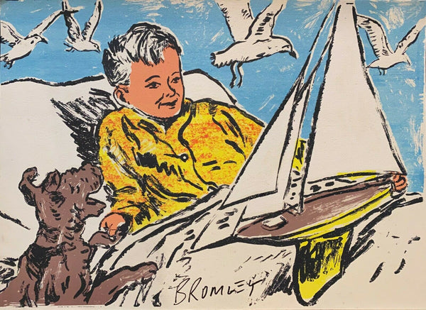"DAVID BROMLEY ""Can We Go Sailing"" Signed Screenprint on Card 51cm x 71cm"