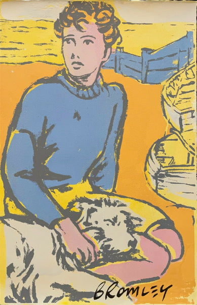 "DAVID BROMLEY ""Boy and Best Friend"" Signed Screenprint on Paper 57cm x 37cm"