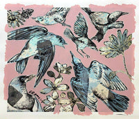 "DAVID BROMLEY ""Birds"" Mixed Media on Paper 92cm x 107cm"