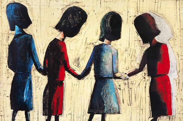 "CHARLES BLACKMAN ""Four Schoolgirls"" Signed, Limited Edition Print 66cm x 100cm"