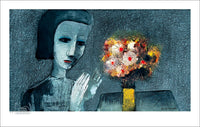 "CHARLES BLACKMAN ""Girl With Flowers"" Printers Proof Print PP 24cm x 43cm"