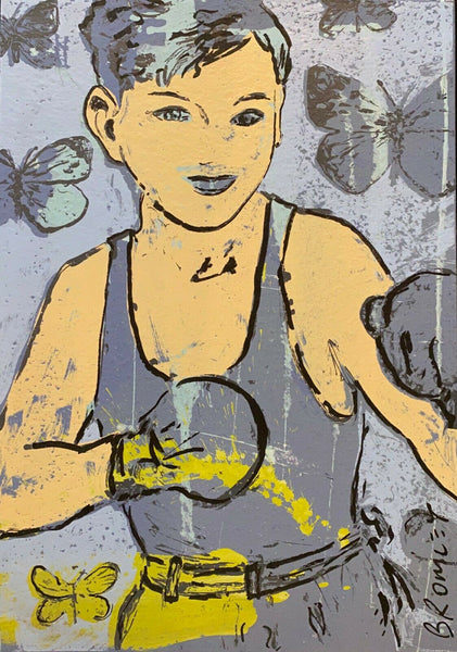 "DAVID BROMLEY ""Boy Boxer"" Signed Screenprint on Card 71cm x 51cm"