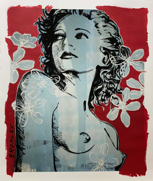 "DAVID BROMLEY Nude Series ""Hillary"" Mixed Media on Card 110cm x 91cm"