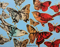 "DAVID BROMLEY ""Butterflies and Birds"" Mixed Media on Card 70cm x 88cm"