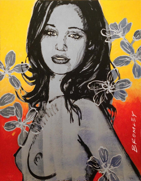 "DAVID BROMLEY Nude ""Gillian With Flowers"" Signed Limited Edition Print, 70 x 55"