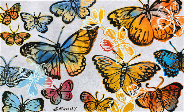"DAVID BROMLEY ""Butterflies"" Signed Limited Edition Print 77cm x 126cm - Stunning"