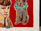"DAVID BROMLEY Children Series ""Boy and Dog"" Signed, Mixed Media 88cm x 110cm"