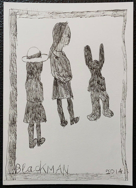 "CHARLES BLACKMAN ""With Rabbit"" Original, Signed Ink on Paper 30cm x 21cm"