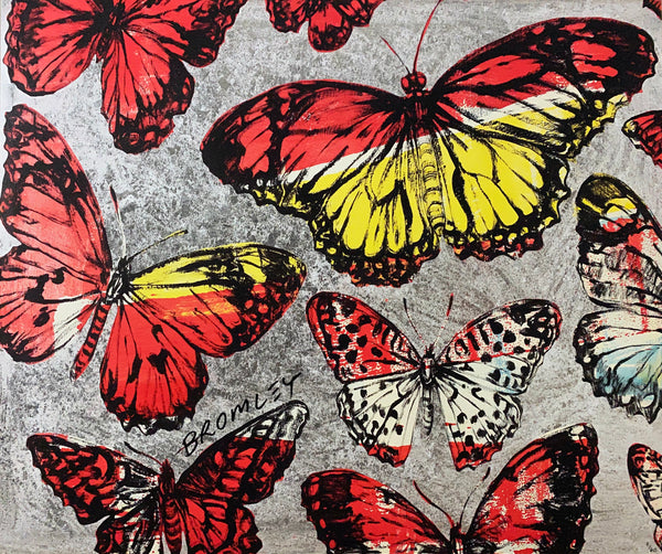 "DAVID BROMLEY ""Silver Butterflies"" Signed Limited Edition Print 50cm x 60cm"