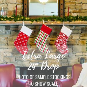 Large Holiday Stocking | Red and Green Christmas Trees Stocking | Personalized Stocking Option Available